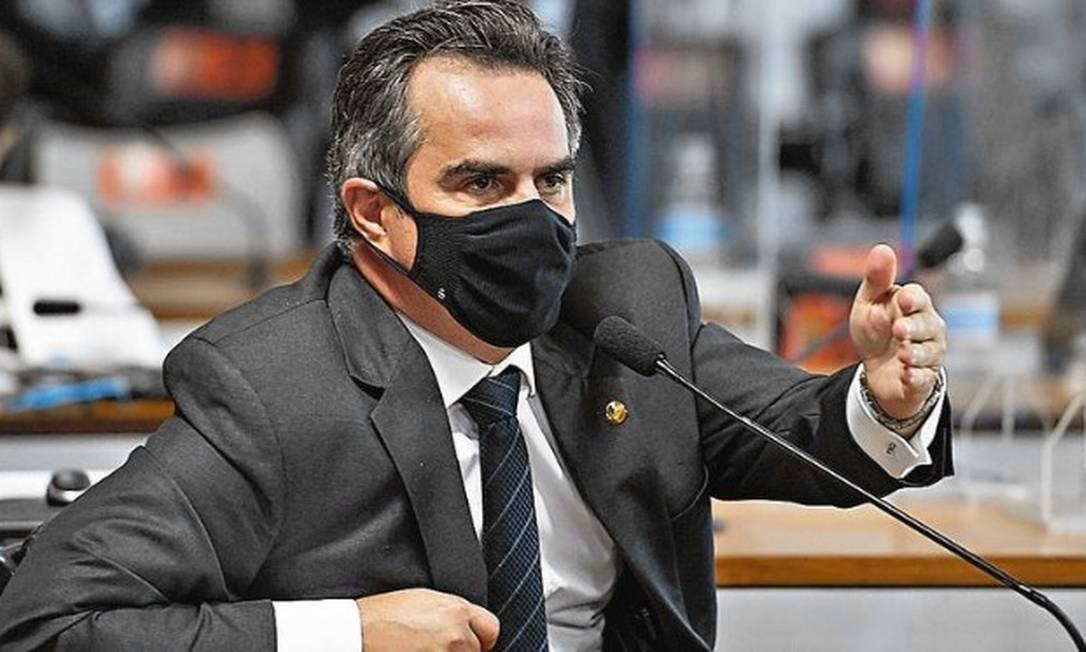 À bancada, em pronunciamento na CPI da Covid, senador Ciro Nogueira (PP-PI) Foto: Jefferson Rudy/Agência Senado