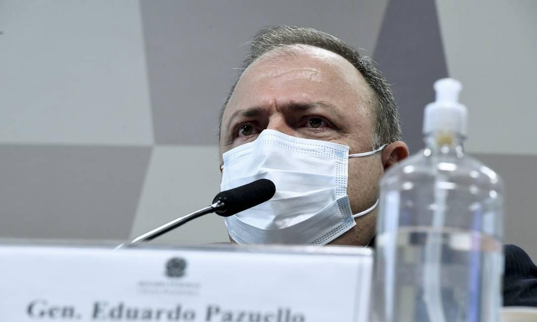 Ex-ministro da Saúde general Eduardo Pazuello presta depoimento na CPI do Covid, no Senado Foto: Edilson Rodrigues / Agência Senado
