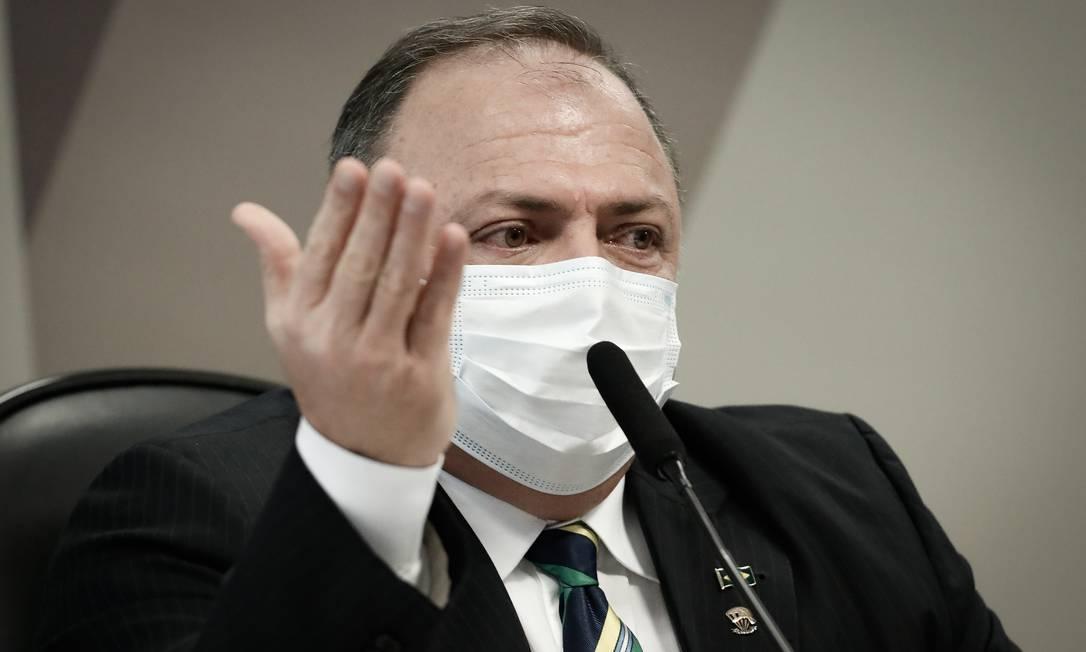 PA Brasília (BSB) 19/05/2021 Sessão da CPI da Pandemia, na foto o depoimento do Ex Ministro da Saúde General Eduardo Pazuello Foto: PABLO JACOB / Agência O Globo