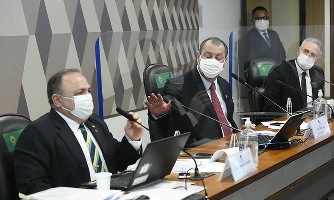 Em meio a bate-boca, Aziz sugere acareação de presidente da Pfizer comPazuello Foto: Jefferson Rudy / Jefferson Rudy/Agência Senado