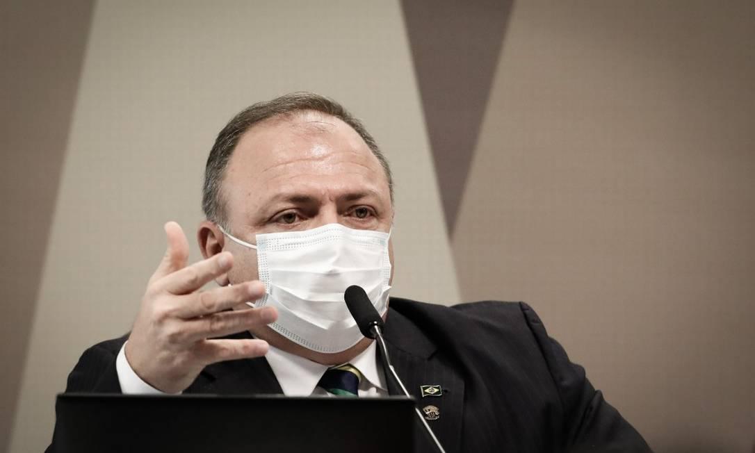 General Eduardo Pazuello na CPI da Pandemia Foto: PABLO JACOB / Agência O Globo