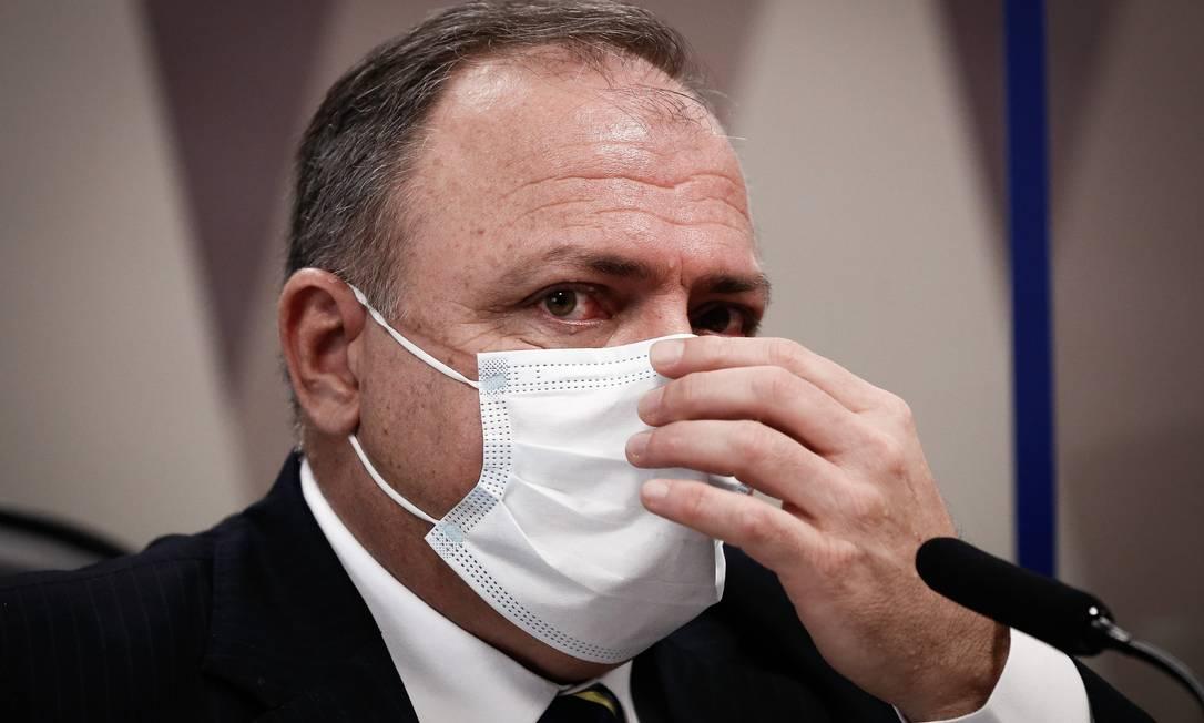 O ex-ministro da Saúde Eduardo Pazuello em depoimento à CPI da Covid, no Senado Foto: Pablo Jacob / Agência O Globo