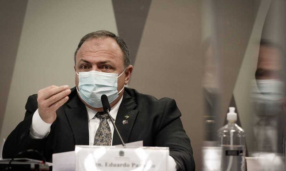 O ex-ministro da Saúde Eduardo Pazuello na CPI da Covid 20/05/2021 Foto: PABLO JACOB / Agência O Globo