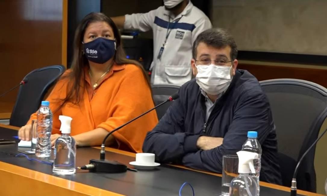Coletiva de imprensa para a apresentação do 20º Boletim Epidemiológico do Rio Foto: YouTube / Prefeitura do Rio / Reprodução