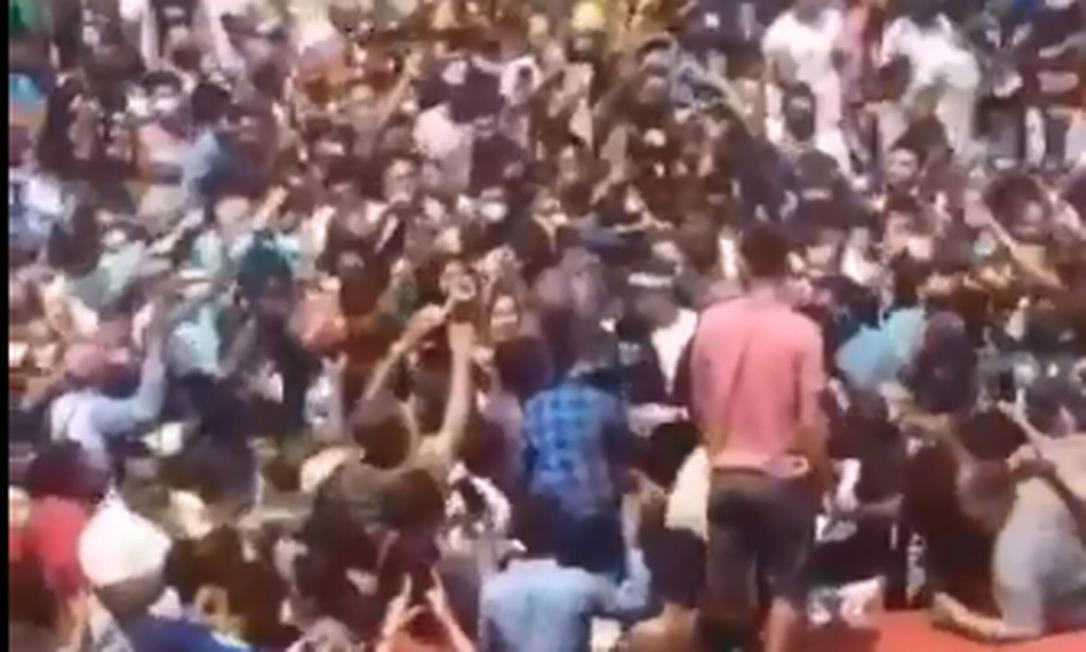 Pessoas se aglomeram em visita de Jair Bolsonaro ao Maranhão Foto: Twitter / Reprodução