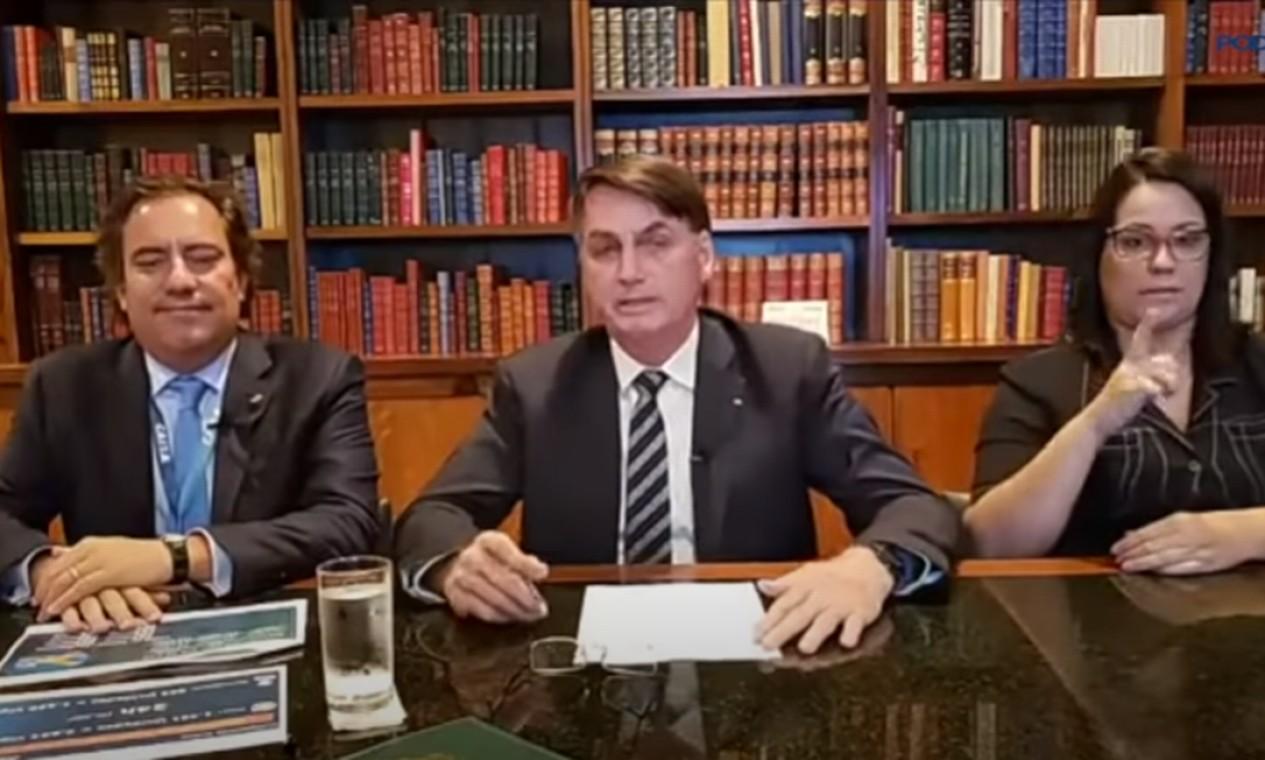 Pedro Guimarães participa de transmissão na internet do presidente Jair Bolsonaro. O presidente da Caixa é figura fácil nas lives de quinta-feira. Já participou de 22. Foto: Reprodução