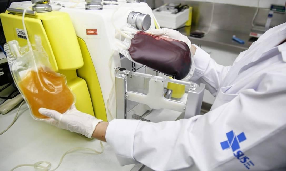 Hemorio realiza pesquisa para tratar pacientes com Covid-19 com plasma de quem já foi vacinado Foto: Divulgação