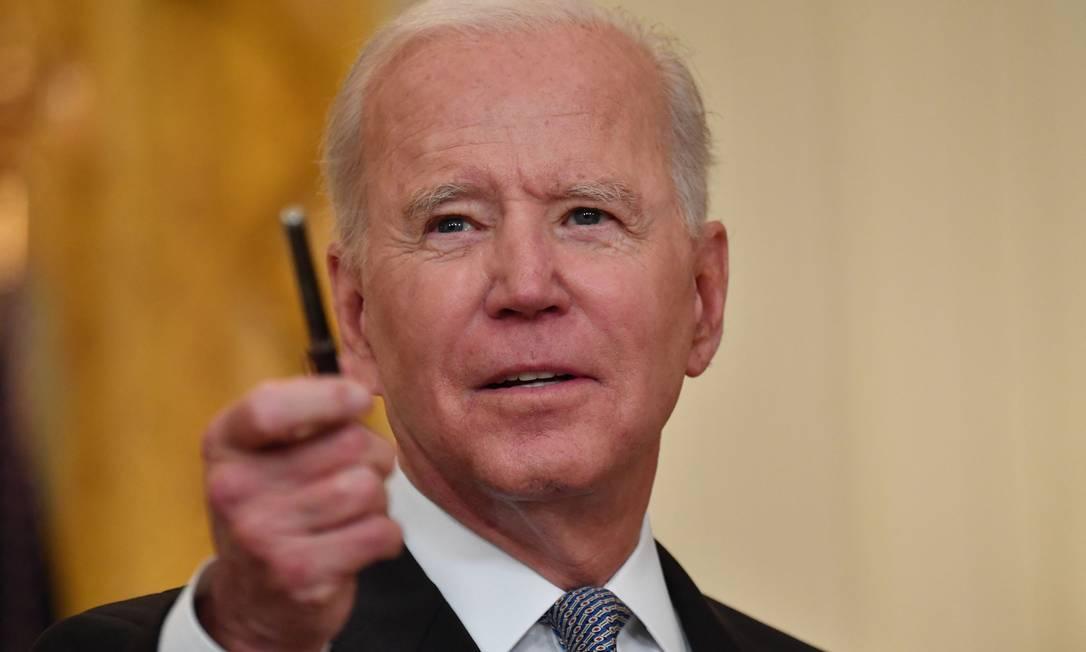 Presidente americano Joe Biden, durante evento na Casa Branca Foto: NICHOLAS KAMM / AFP