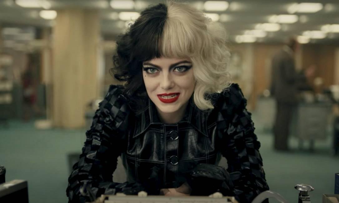 Emma Stone no papel da vilã Cruella. Foto: Reprodução