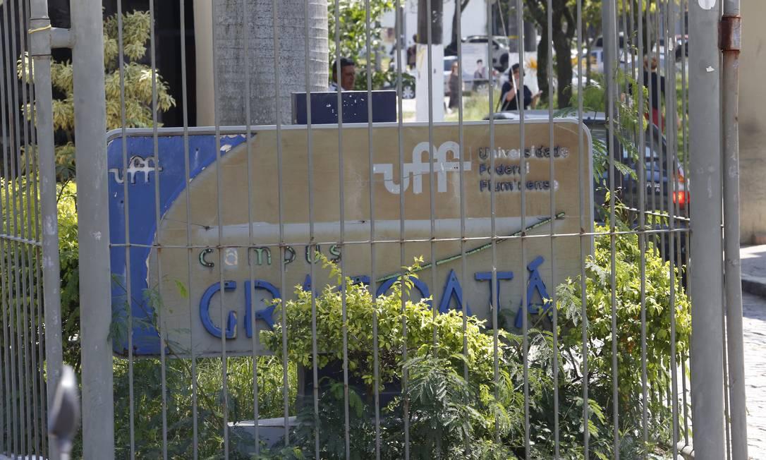Entrada do campus do Gragoatá: a UFF tem um custo mensal discricionário de cerca de R$ 12 milhões Foto: Fábio Guimarães/18-9-2019 / Agência O Globo