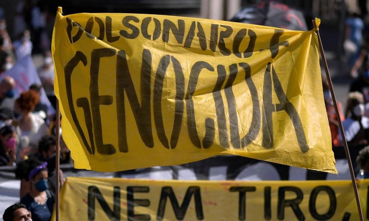 Protesto contra o presidente Jair Bolsonaro em Belo Horizonte, Minas Gerais Foto: Douglas Magno / AFP