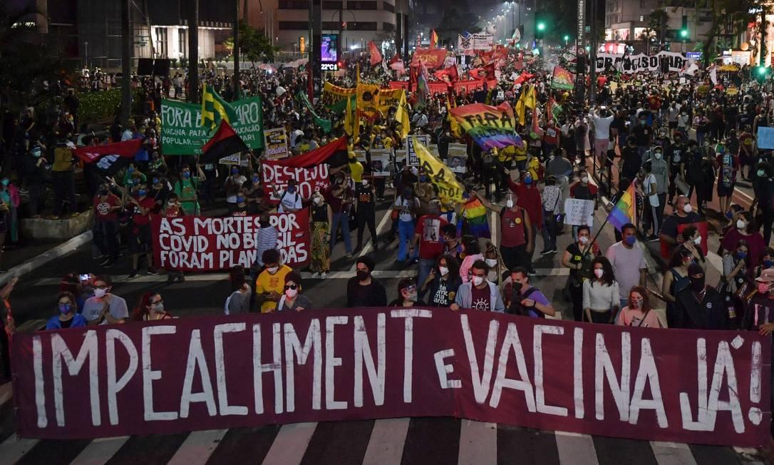 Ato em São Paulo foi realizado na Avenida Paulista Foto: NELSON ALMEIDA / AFP