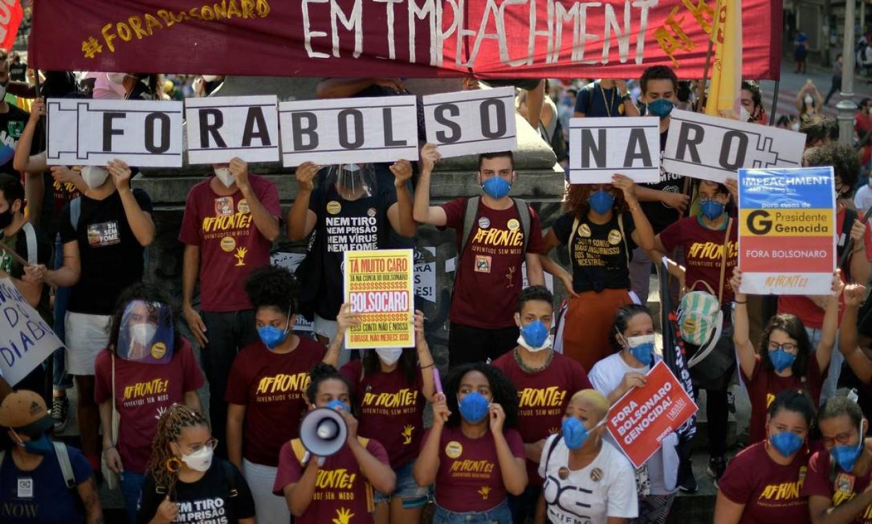 Em Belo Horizonte, a passeata saiu da Praça da Liberdade e seguiu em direção ao Centro. Foto: DOUGLAS MAGNO / AFP