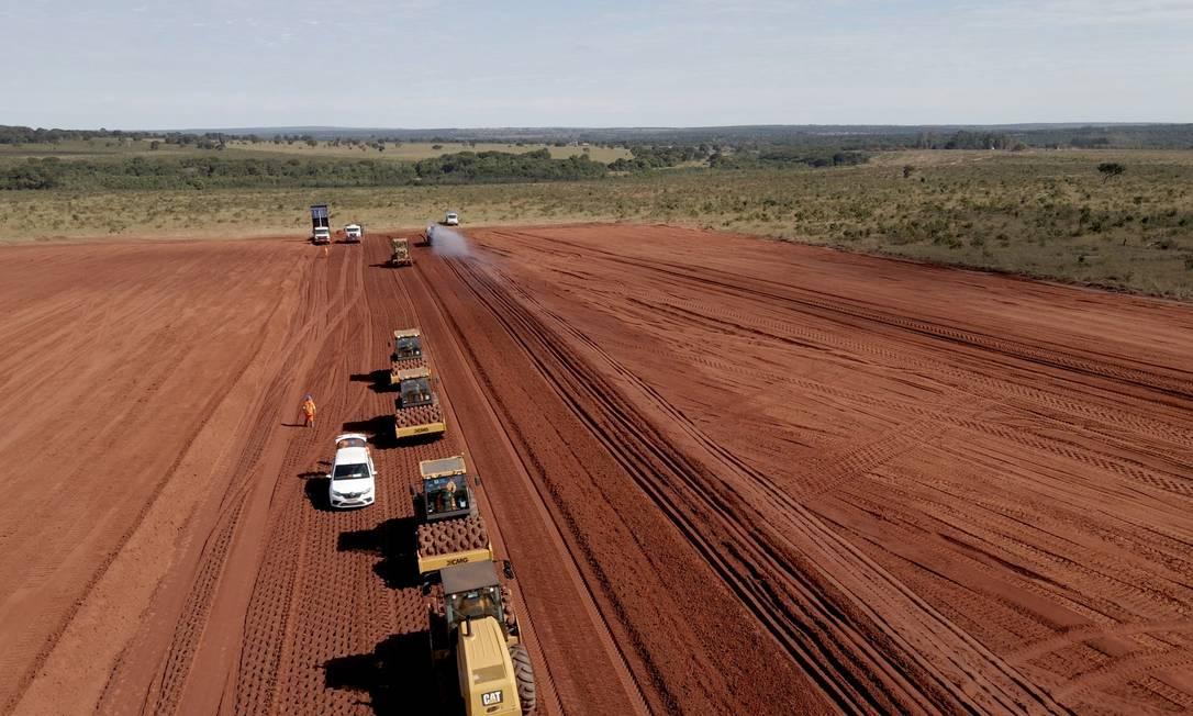 Obras na nova fábrica, em Mato Grosso do Sul - Projeto Cerrado, da Suzano Foto: Divulgação