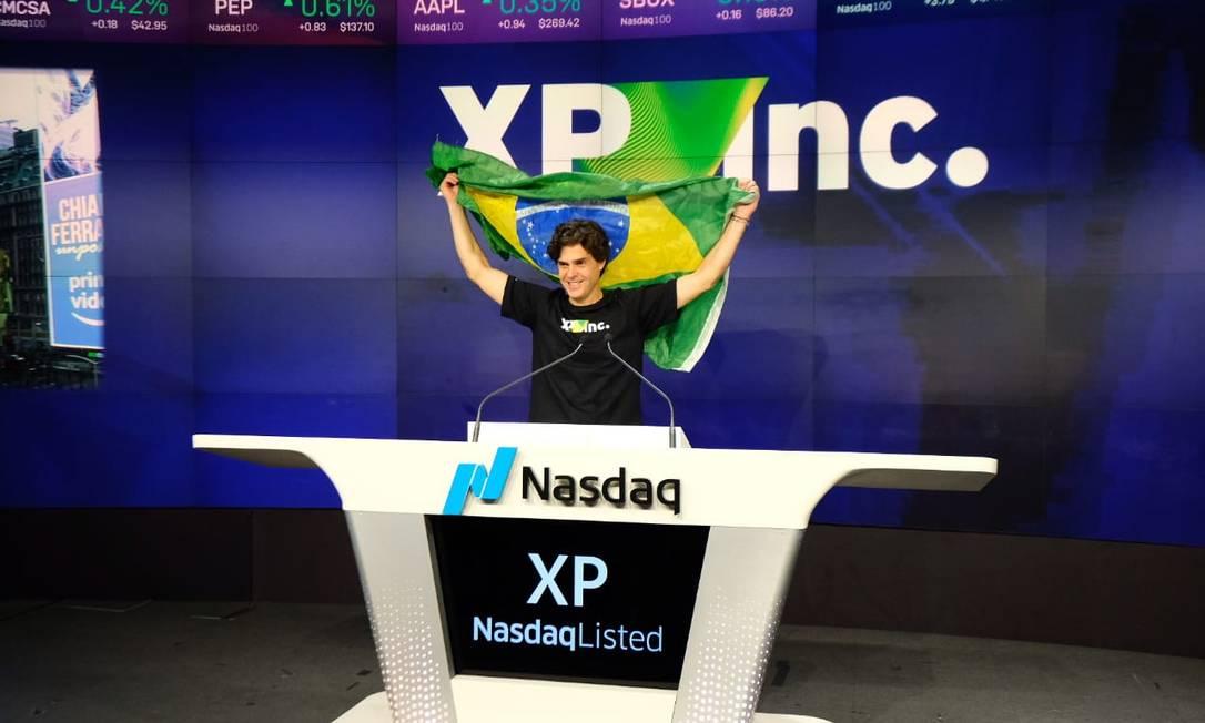 Sócio-fundador da XP, Guilherme Benchimol, durante o pregão da Nasdaq para o lançamento da negociação das ações da corretora em Wall Street. Foto: 11/12/2019 / Divulgação