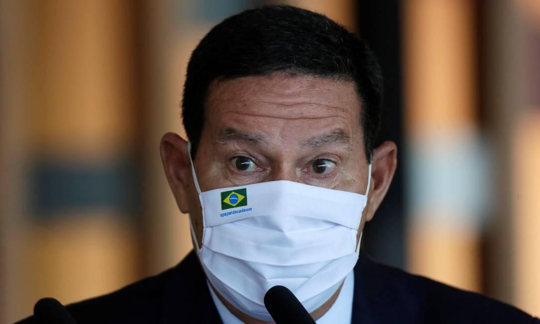 O vice-presidente Hamilton Mourão participa de entrevista coletiva no Itamaraty Foto: Ueslei Marcelin/Reuters/26-05-2021