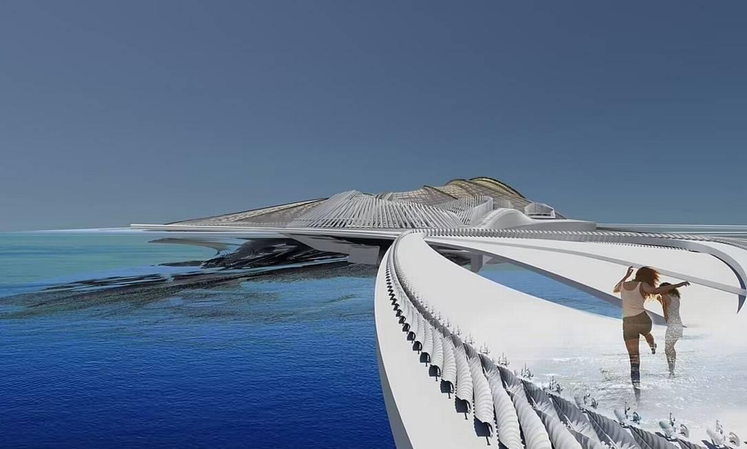 Desenho mostra como serão as passarelas de madeira do Recycled Ocean Plastic Resort, no arquipélago australiano de Cocos Islands, no Oceano Índico Foto: Reprodução