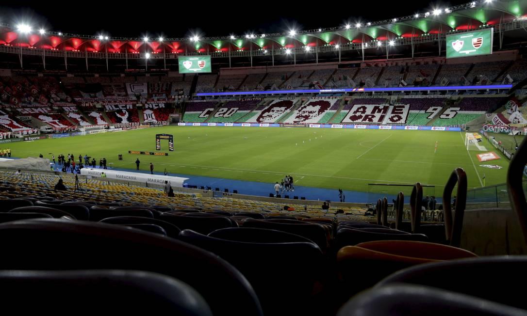 Maracanã recebeu final do Estadual, entre Flamengo e Fluminense, sem público Foto: Marcelo Theobald / Agência O Globo