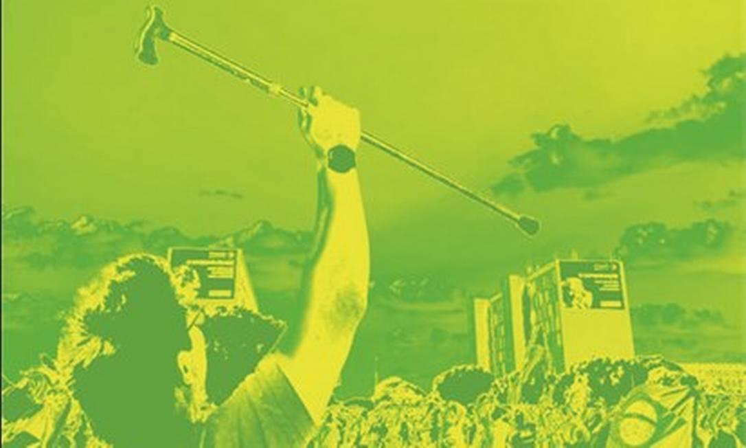 Mario Frias (com a bengala) acena para helicóptero que leva Jair Bolsonaro em manifestação de apoio ao presidente, em Brasília, em 5 de maio Foto: Arte de Télio Navega sobre reprodução de redes sociais/André Porciuncula