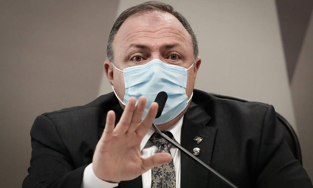 O ex-ministro Eduardo Pazuello presta depoimento na CPI da Covid Foto: Pablo Jacob/Agência O Globo/20-05-2021