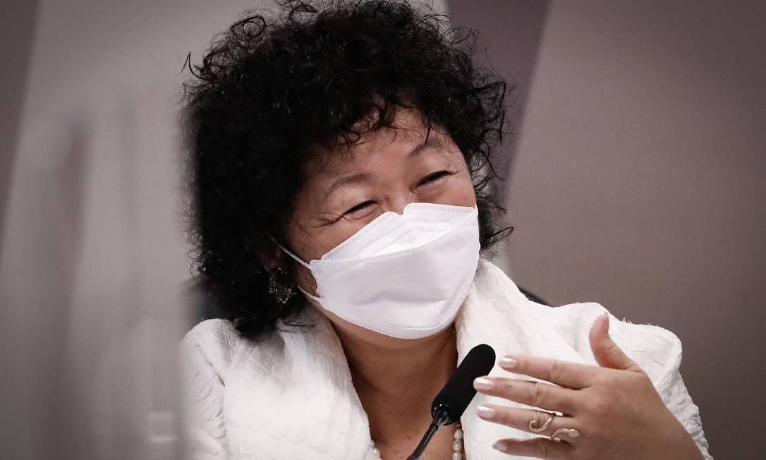 A médica oncologista Nise Yamaguchi durante depoimento na CPI Foto: PABLO JACOB / Agência O Globo
