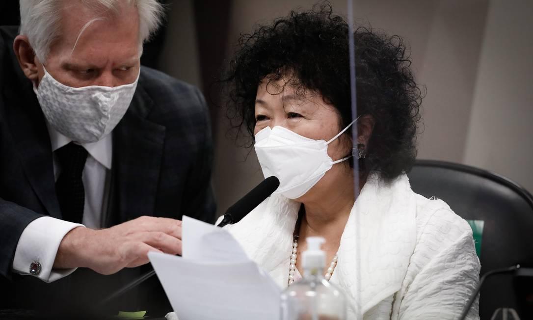A médica Nise Yamaguchi esteve acompanhada por advogado pessoal durante sabatina Foto: Pablo Jacob / Agência O Globo - 01/07/2021