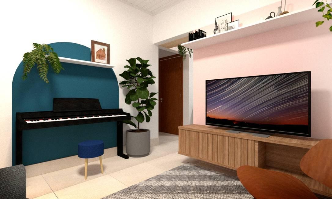 Projeto da Paulichen Arquitetura com cores em formatos geométricos Foto: Divulgação / Paulichen Arquitetura