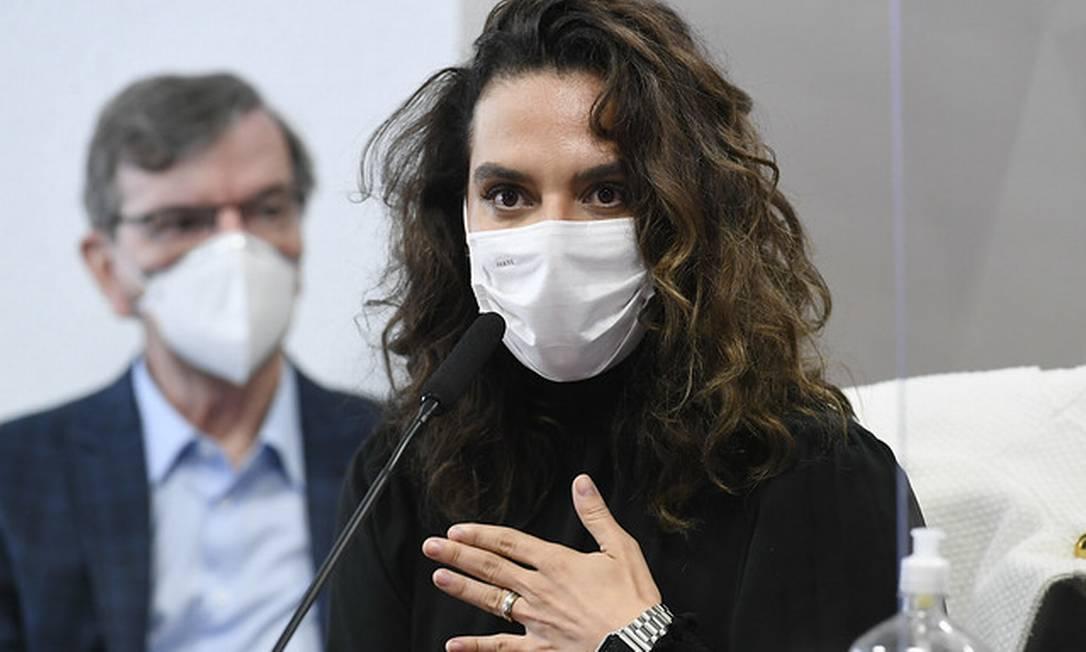 A médica Luana Araújo depõe à CPI da Covid Foto: Jefferson Rudy / Jefferson Rudy/Agência Senado