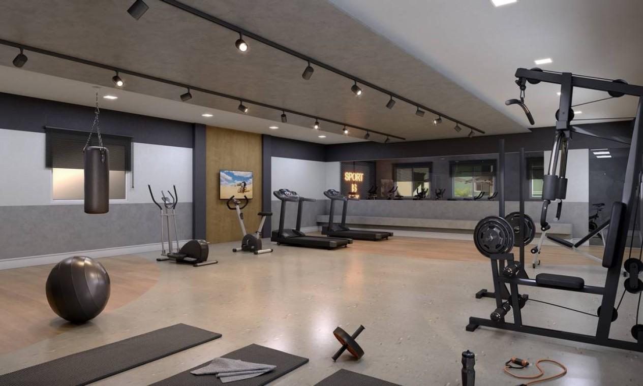 Área fitness. Previsão é de que outros dois residenciais sejam anunciados na região este ano Foto: Divulgação / Agência O Globo