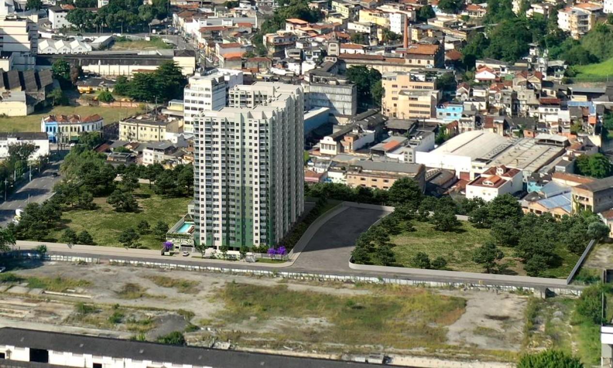 o primeiro empreendimento residencial da região, um investimento da Cury Construtora com 1.224 apartamentos na Praça Marechal Hermes, no Santo Cristo Foto: Divulgação / Agência O Globo
