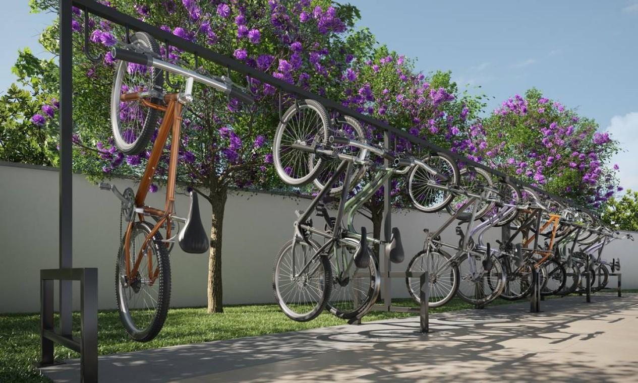 Bicicletário do projeto Praia Formosa Foto: Divulgação / Agência O Globo