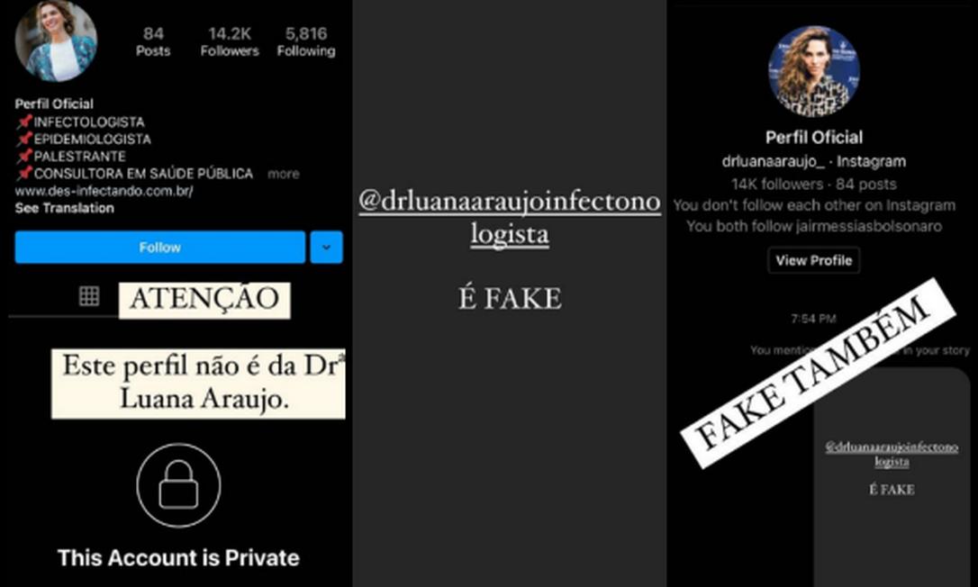 Infectologista Luana Araújo alertou para criação de perfis falsos Foto: Reprodução
