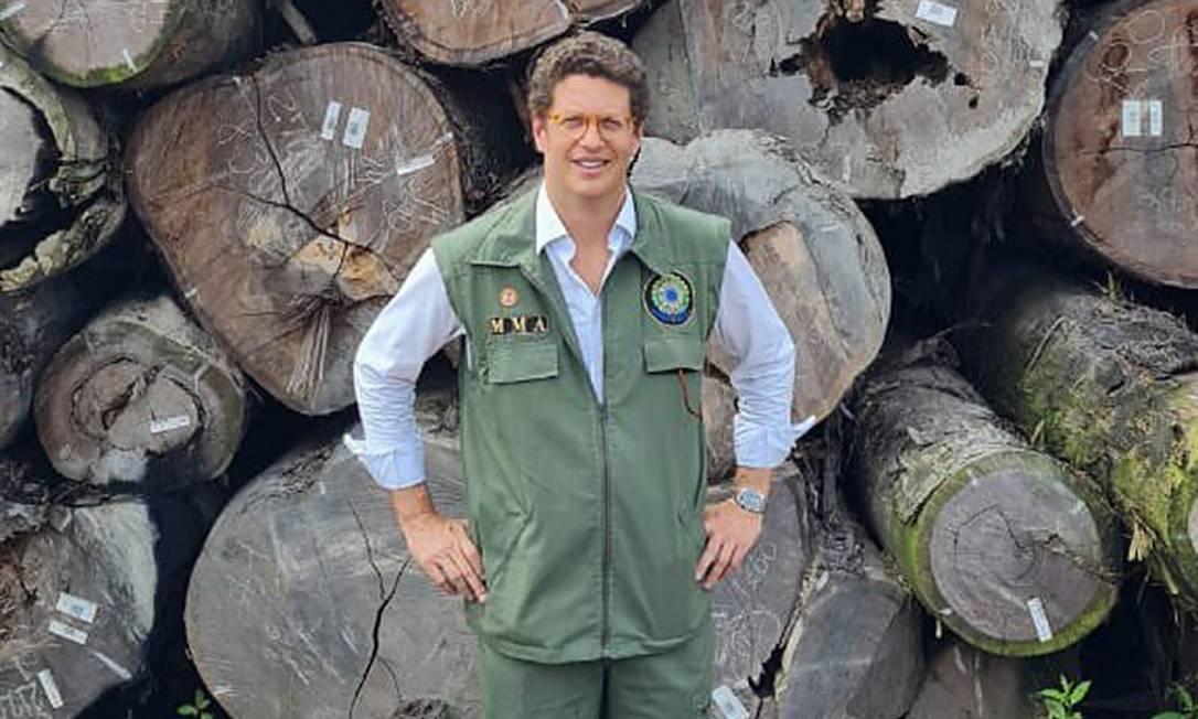 Ministro do Meio Ambiente, Ricardo Salles posa diante de madeira apreendida pelo Ibama Foto: Reprodução