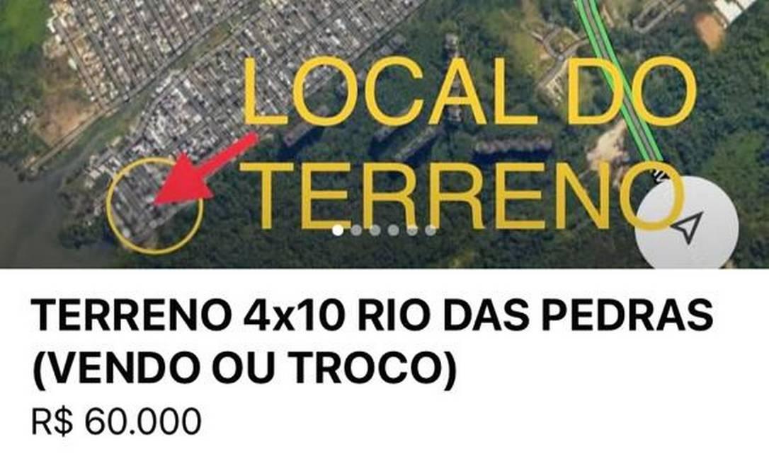 Imagens de satélite mostram o local dos terrenos que estão à venda na internet Foto: Redes Sociais / Reprodução