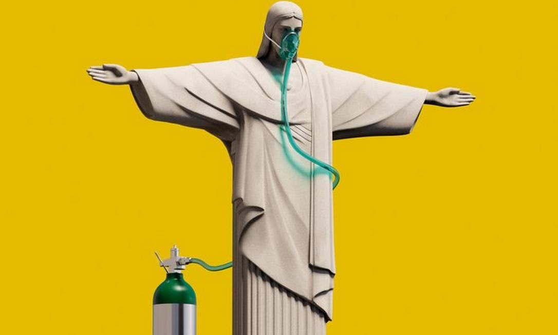 Capa da revista 'The Economist' de junho de 2021 traz desenho do Cristo Redentor usando máscara de oxigênio Foto: Reprodução