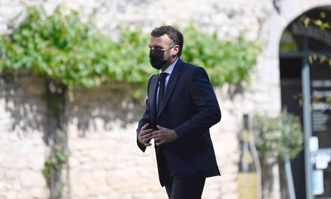 O presidente francês, Emmanuel Macron, durante visita a Martel, no sul da França, em 3 de junho de 2021 Foto: Lionel Bonaventure / AFP