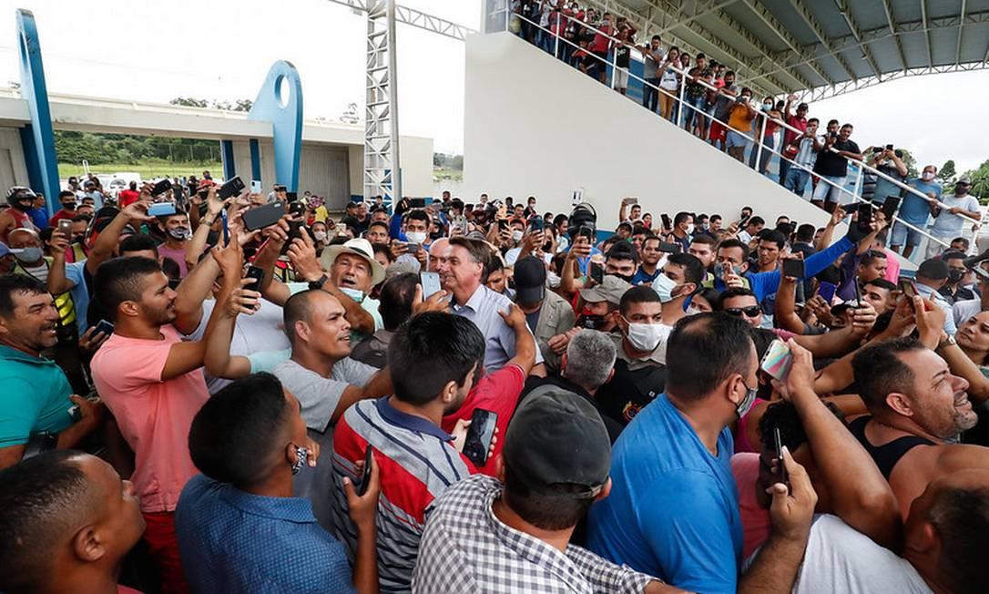 Bolsonaro visita o município de Sena Madureira, no Acre, em fevereiro de 2021 Foto: Alan Santos/PR