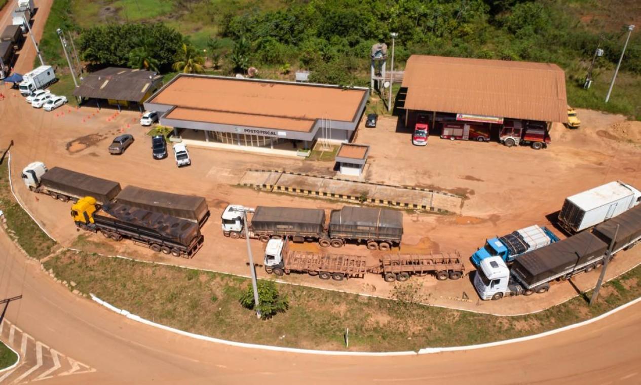 Caminhões com madeira irregular apreendidos na BR-319 pela PRF Foto: Brenno Carvalho / Agência O Globo