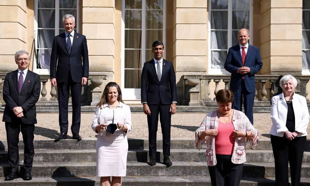 Ministros das Finanças de países membros do G7 durante reunião em Lancaster House, em Londres. Foto: HENRY NICHOLLS / AFP