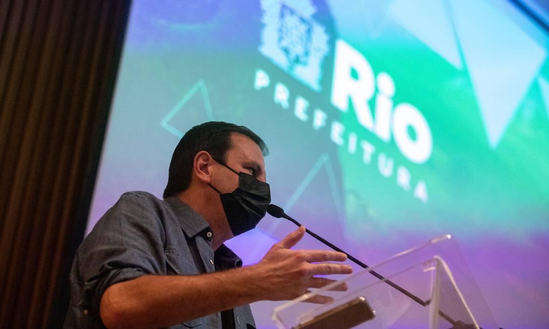 O prefeito Eduardo Paes anuncia Rio+30 Cidades no lançamento do Plano de Desenvolvimento Sustentável e Ação Climática, no Museu do Amanhã Foto: Brenno Carvalho / Agência O Globo