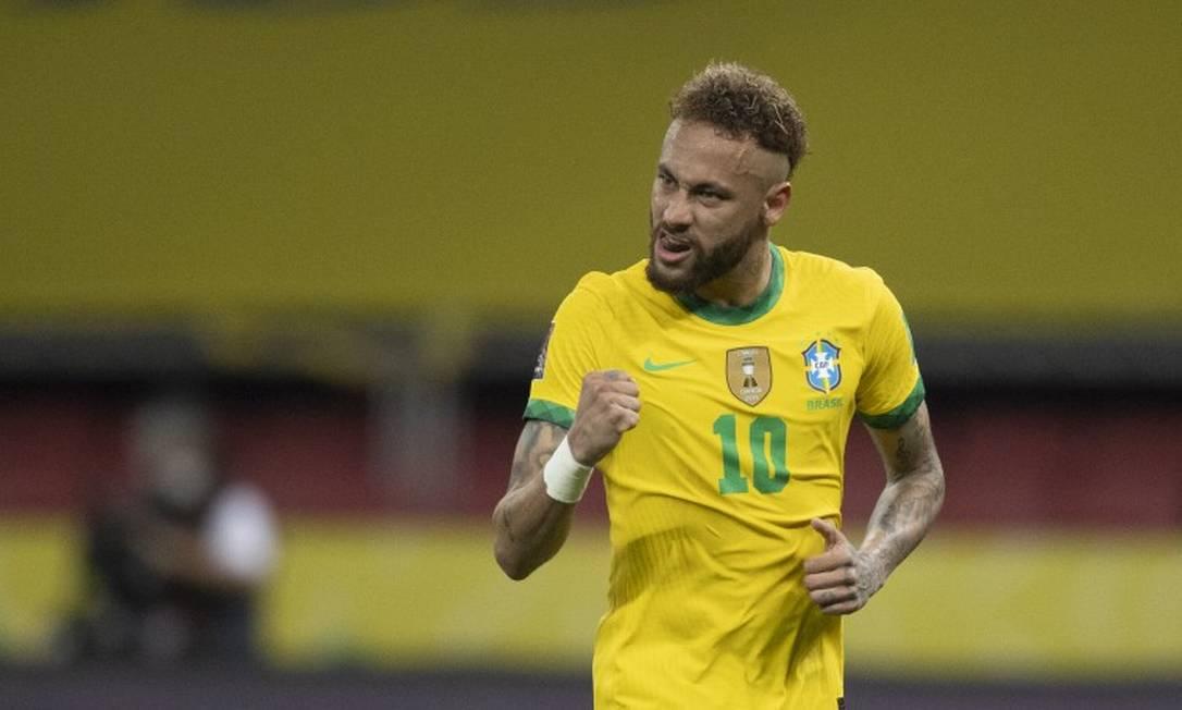Neymar comemora vitória da seleção sobre o Equador por 2 a 0 Foto: Lucas Figueiredo/CBF