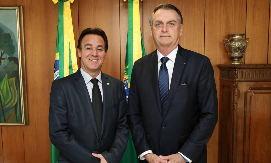 Adilson Barroso, presidente do Patriota, ao lado do presidente Jair Bolsonaro Foto: Divulgação