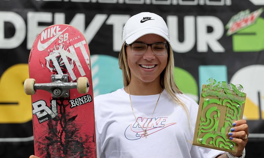Pâmela Rosa, 21 anos, ficou em primeiro lugar no Dew Tour em, Iowa, nos EUA. Foi primeira competição desde a pandemia e reuniu os melhores do planeta Foto: Sean M. Haffey / AFP