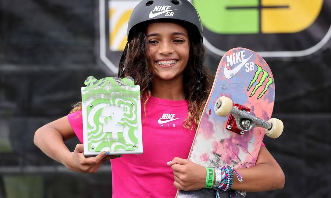 Rayssa Leal, de apenas 13 anos, ficou em segundo lugar em Dew Tour e é a segunda do ranking mundial Foto: Sean M. Haffey / AFP