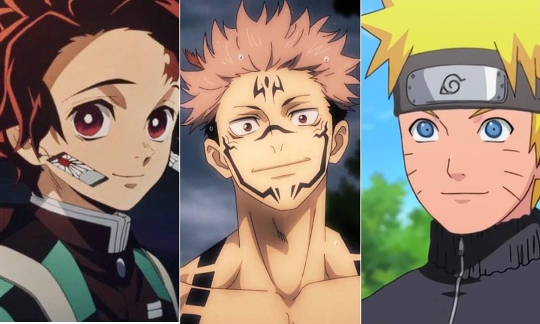 """Os mangás """"Kimetsu no Yaiba"""", """"Jujustu Kaisen"""" e """"Naruto"""" protagonizam lista de livros de ficcão mais vendidos no país Foto: Divulgação"""