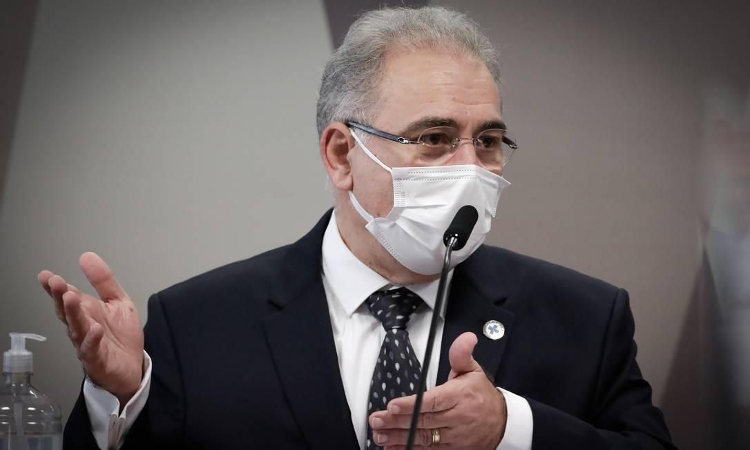 O ministro da Saúde, Marcelo Queiroga, depõe pela segunda vez à CPI da Covid Foto: PABLO JACOB / Agência O Globo