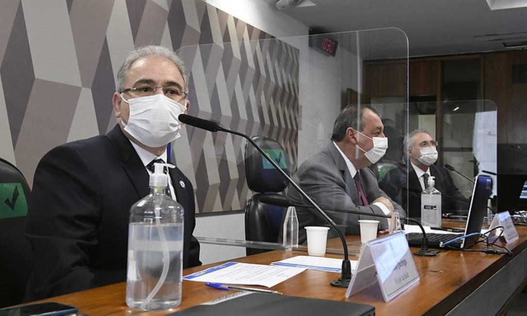 Ministro da Saúde, Marcelo Queiroga, presta segundo depoimento na CPI da Covid Foto: Edilson Rodrigues/Agência Senado