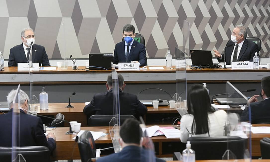 Ministro da Saúde, Marcelo Queiroga, presta segundo depoimento na CPI da Covid Foto: Jefferson Rudy/Agência Senado