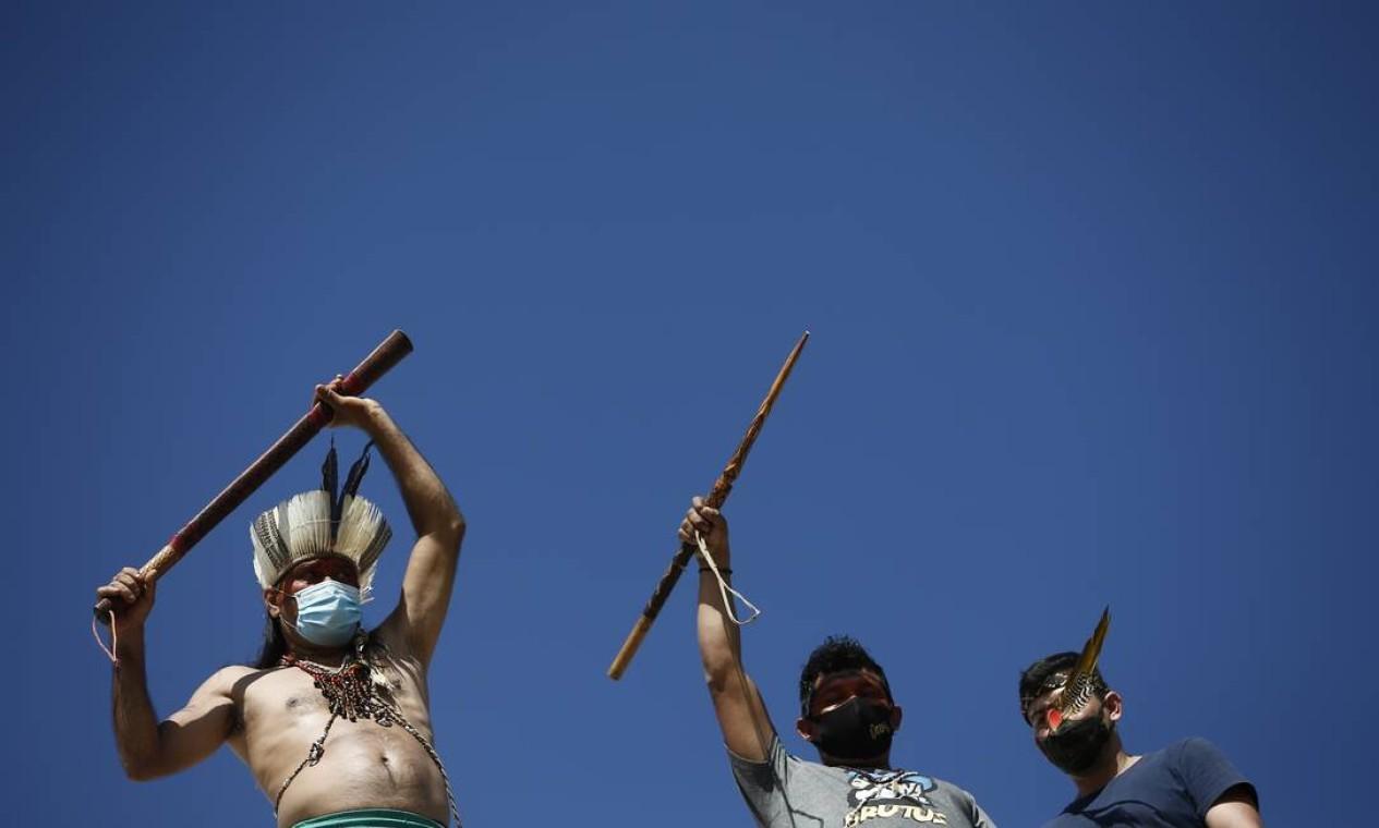 PA Brasília (BSB) 08/06/2021 Manifestação de índios no Congresso Nacional contrato a PL 490. Foto Pablo Jacob / Agência O Globo Foto: Pablo Jacob / Agência O Globo
