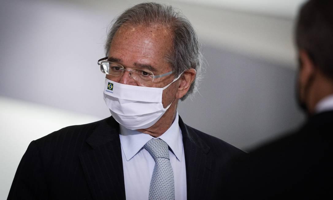 O ministro da Economia, Paulo Guedes, em evento no Palácio do Planalto Foto: Pablo Jacob / Agência O Globo/11-05-2021